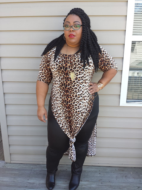 Plus size leopard-print maxi tee with faux leather leggings and black booties