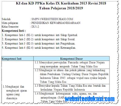 KI KD PKn Kelas 9 SMP/MTs K13 Revisi 2018