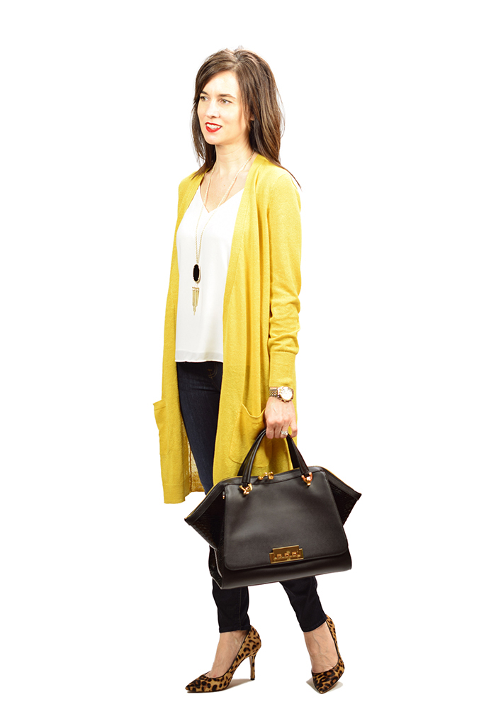 zac posen eartha bag, nordstrom, long yellow cardigan