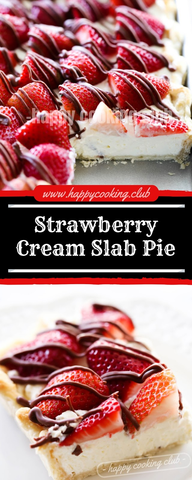 Strawberry Cream Slab Pie