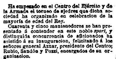Recorte de La Correspondencia en España del 2 de mayo de 1902 sobre el primer campeonato de España individual de Ajedrez