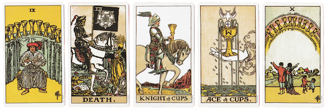 Original Rider Waite Tarot Nine of Cups Death Knight of Cups Ace of Cups ten of Cups blog blogger