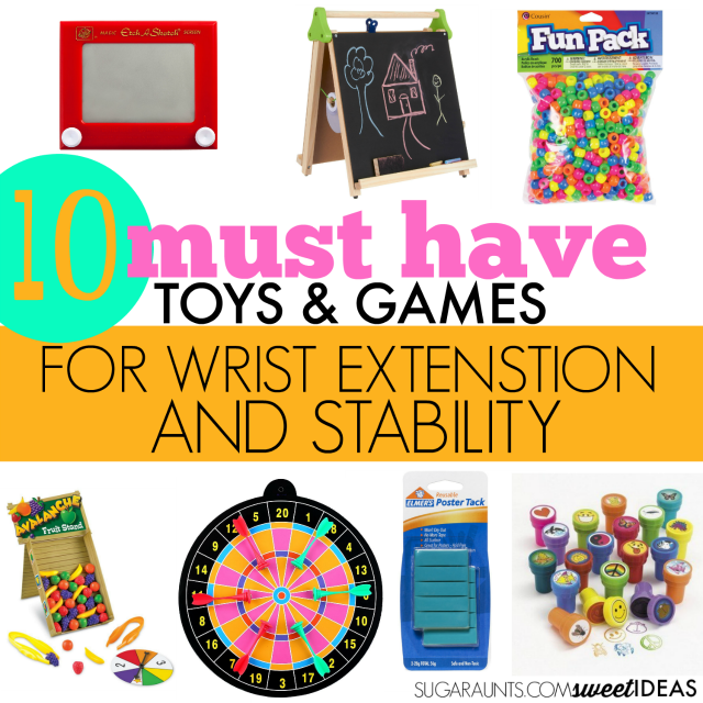 These toys and games are perfect for building wrist stability and strengthening the wrist extension muscles needed for a functional grasp with dexterity in activities like handwriting.