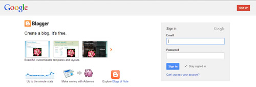 sign in page in Google blogger
