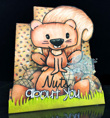 Tiddly Inks, Kecia Waters, squirrel, nuts about you, Copic markers, center step card