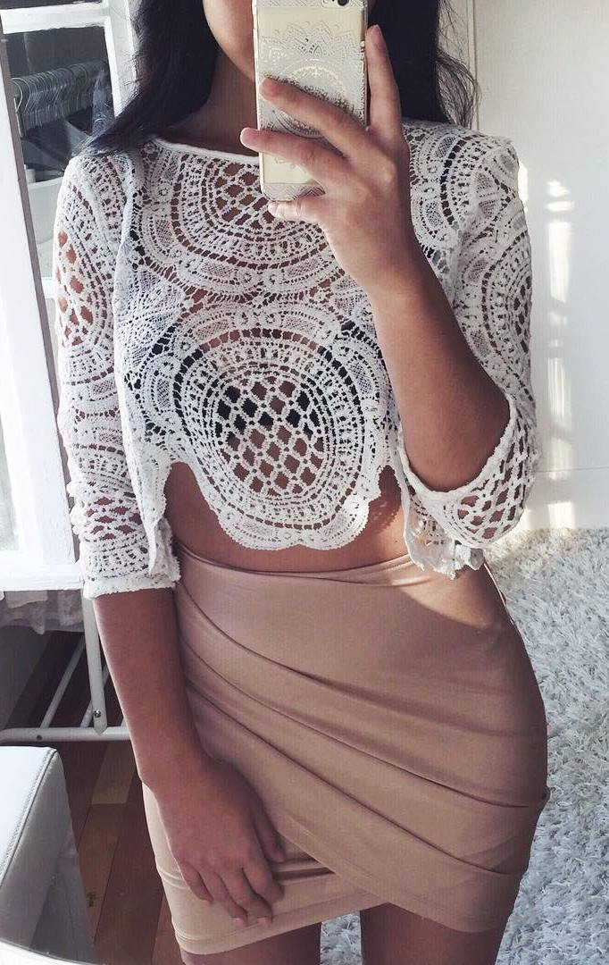 fashion trends | white lace top and nude skirt