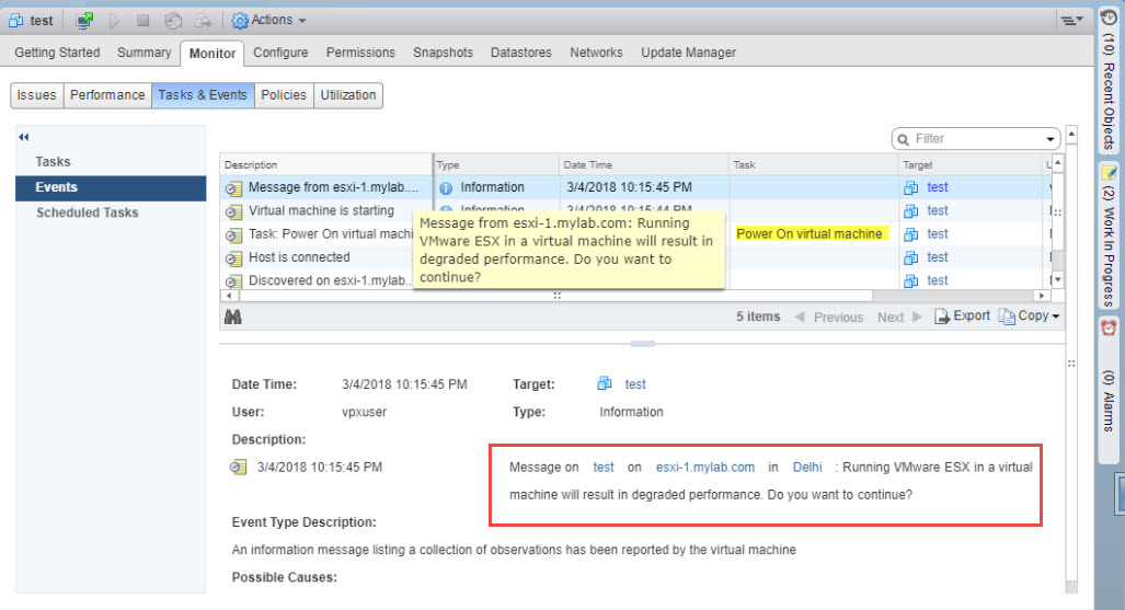 vCloudNotes : Information Sharing: Unable to power-on a VM