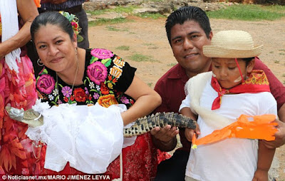 This crocodile dressed in white gown was married to a Mexican mayor