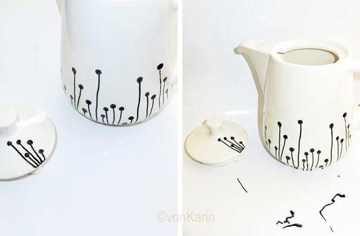 Kaffeekanne mit Porcellain Painer bemalen - DIY vonKarin 2017