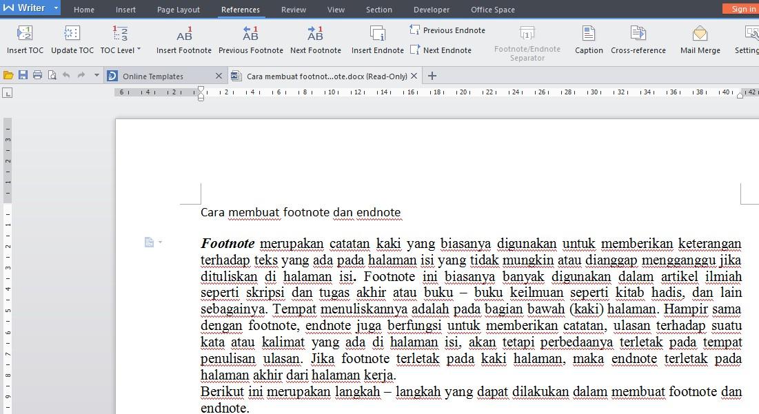 Cara Membuat Catatan Kaki Atau Footnote Dan Endnote Harianja Uniks