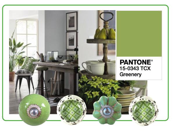 bouton de meuble vert greenery