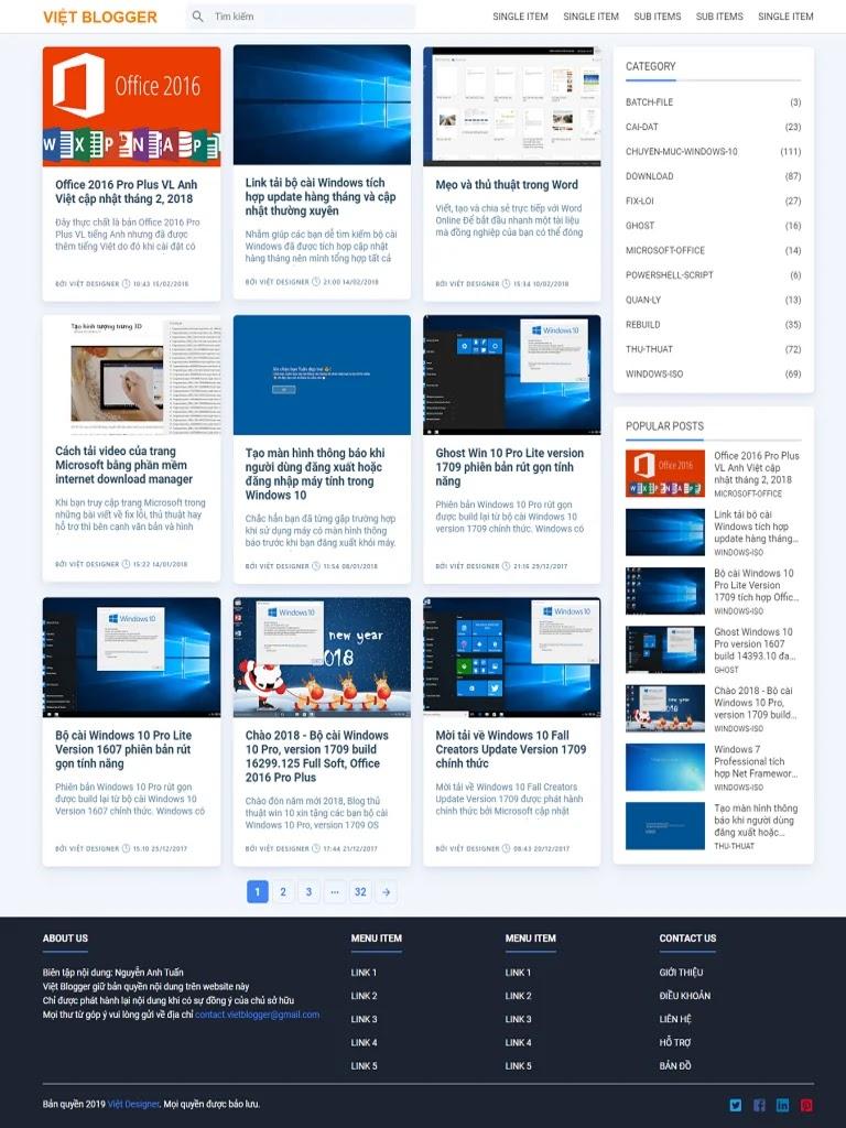Template blogspot tin tức chia sẻ thủ thuật máy tính, phần mềm