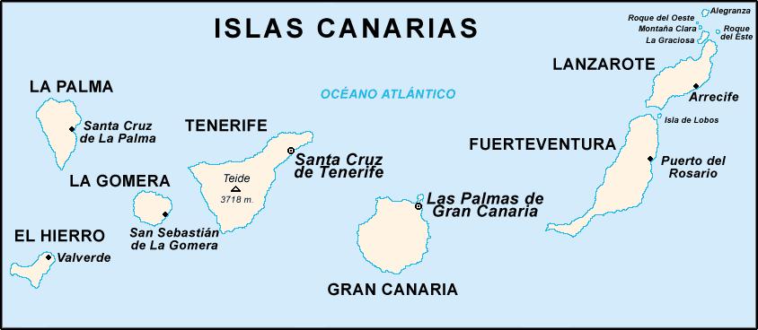 Mapa Mudo De Canarias.Geografia 1º De Secundaria Africa Canarias