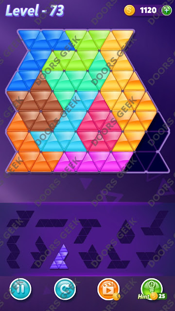Block! Triangle Puzzle Challenger Level 73 Solution, Cheats, Walkthrough for Android, iPhone, iPad and iPod