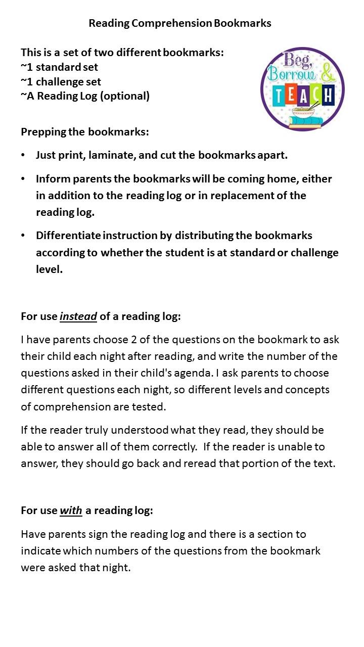 Beg Borrow And Teach Reading Prehension Bookmarks