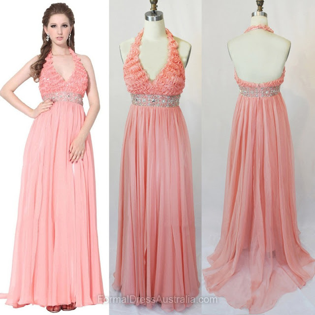 Empire Chiffon Halter with Beading Sweep Train Formal Dresses