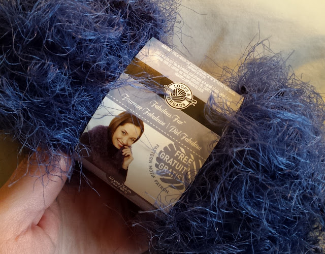 fuzzy blue yarn
