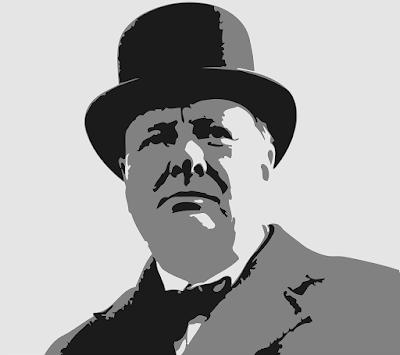 ハットを被った英国元首相チャーチル