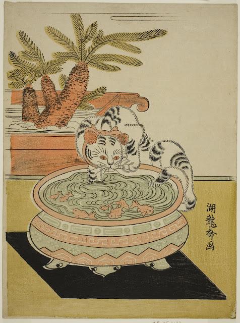 Cat pawing goldish, Japanese colour woodblock print