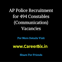 AP Police Recruitment for 494 Constables (Communication) Vacancies