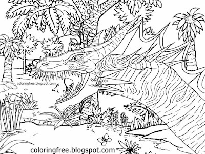 Flying Jurassic monster land of dinosaur prehistoric dragon printable coloring for kids to color in