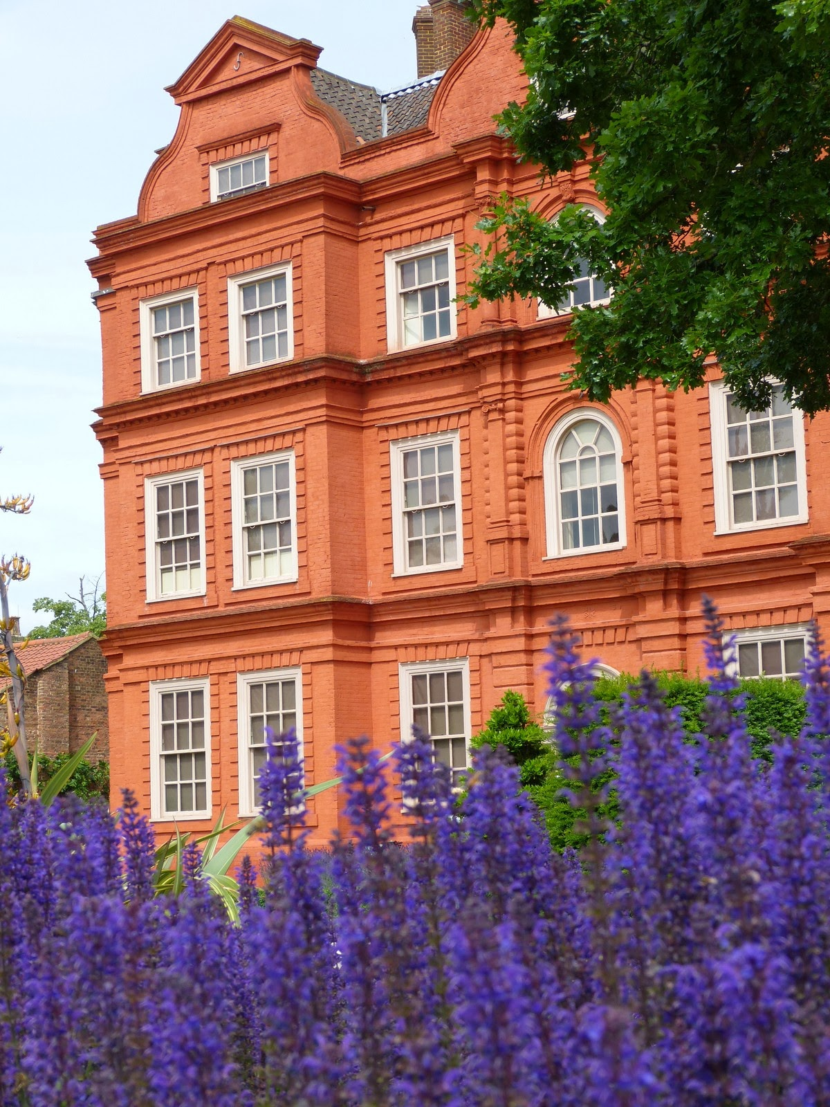 Bluebells in front of Kew Palace