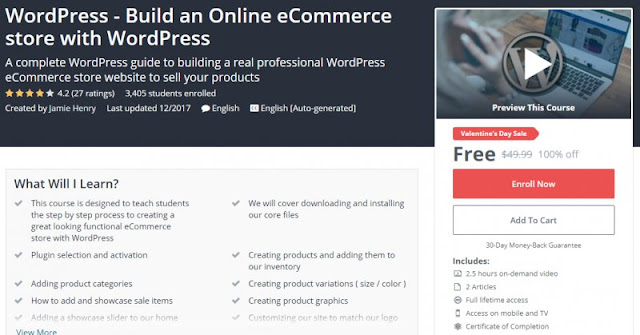 [100% Off] WordPress - Build an Online eCommerce store with WordPress| Worth 49,99$