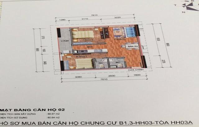 Sơ đồ thiết kế căn hộ 02 chung cư B1.3 HH03A Thanh Hà Cienco 5