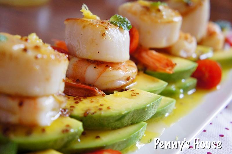 Penny's House: 【食譜】干貝料理:乾煎干貝鮮蝦佐酪梨+芥末籽油醋 。簡單、美麗、健康飲食、海鮮料理