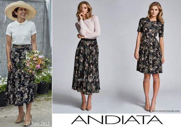 Crown Princess Mary wore Andiata Flower Print Midi Skirt