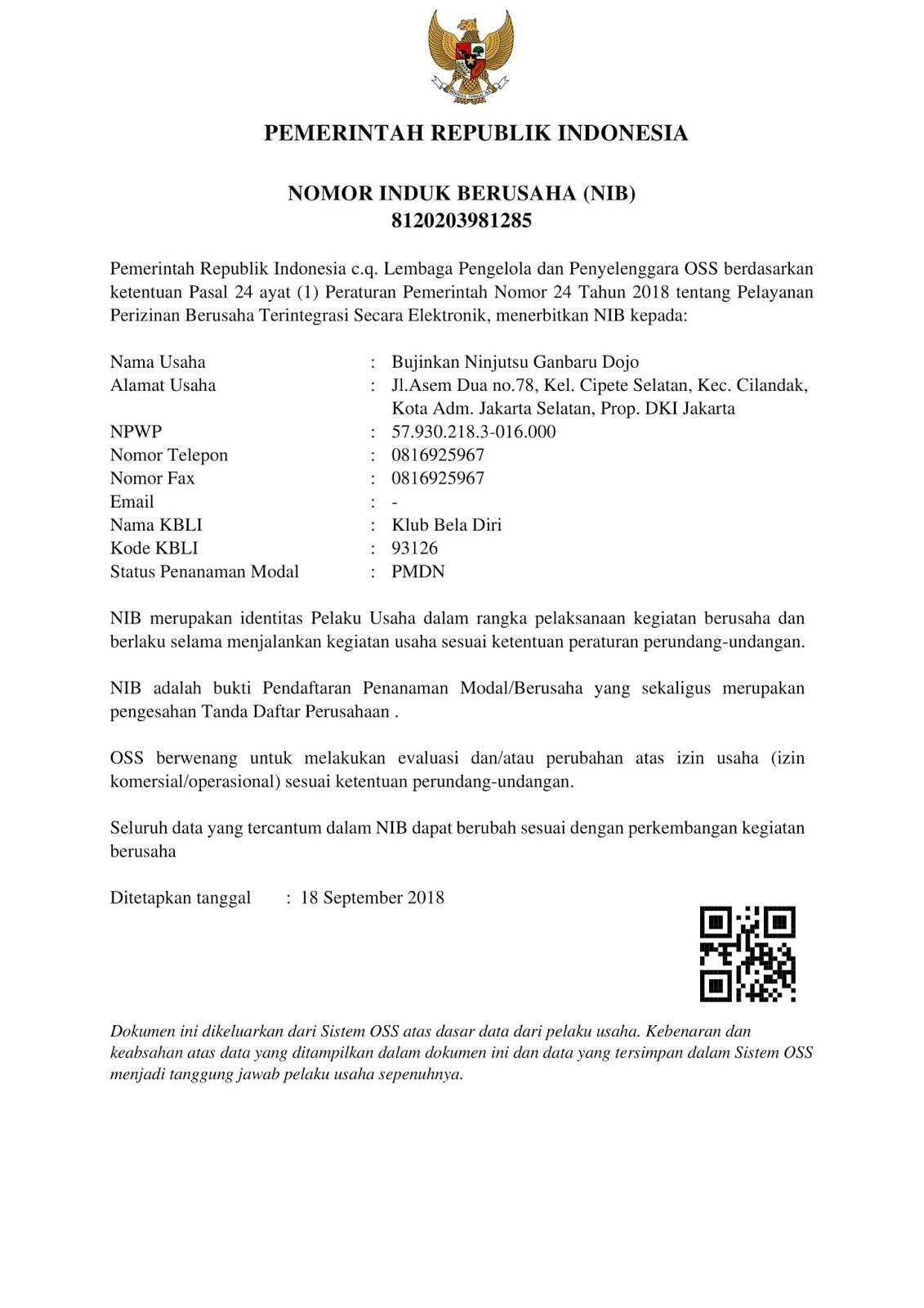 Contoh Surat Nomor Induk Berusaha (NIB) OSS Online