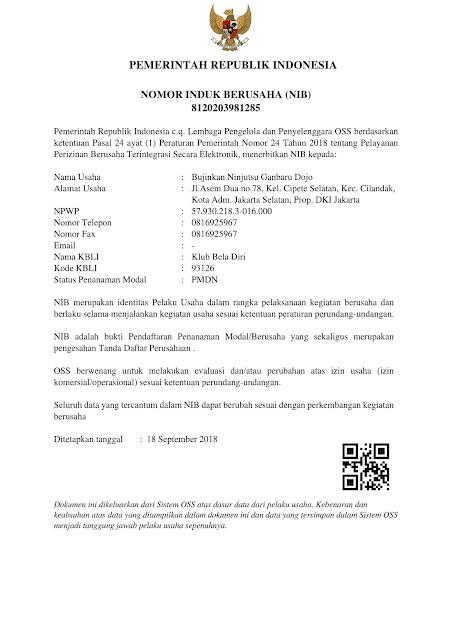 Contoh Surat Nomor Induk Berusaha (NIB) OSS Online Perorangan