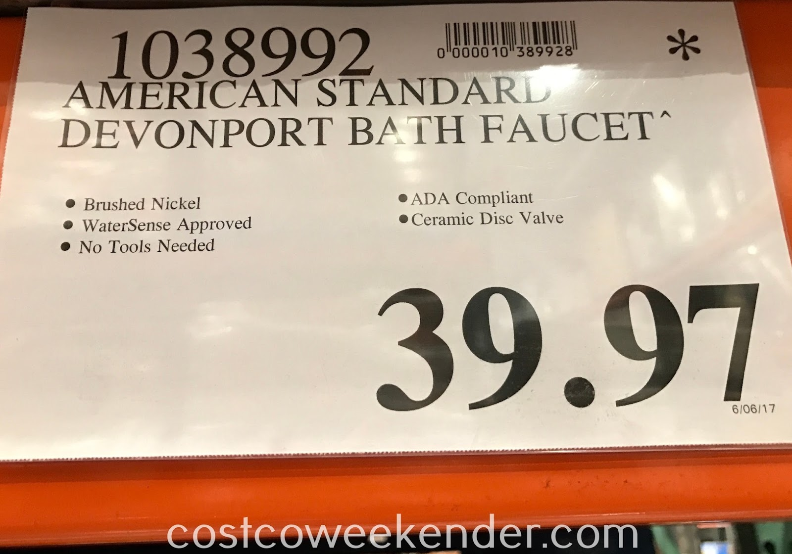 Deal for the American Standard Devonport Bath Faucet at Costco
