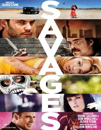 Poster Of Savages 2012 Dual Audio 500MB BRRip 720p ESubs HEVC - UNRATED Free Download Watch Online downloadhub.in