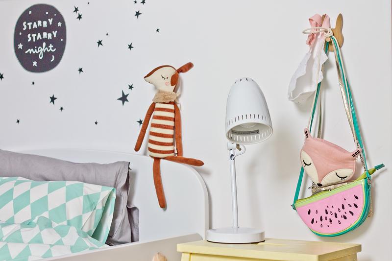 lampka dynamo, lampka nocna, lampka retro, biała lampka na biurko