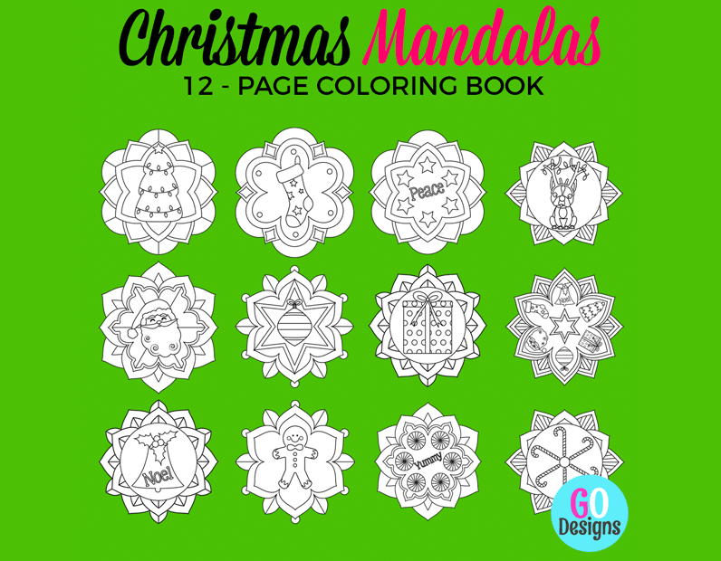 Christmas Mandala Coloring Pages for Kids! 12 pages of gorgeous images. #gradeonederfuldesigns #christmas #christmascoloring #mandalas #christmasmandalas #christmasforkids