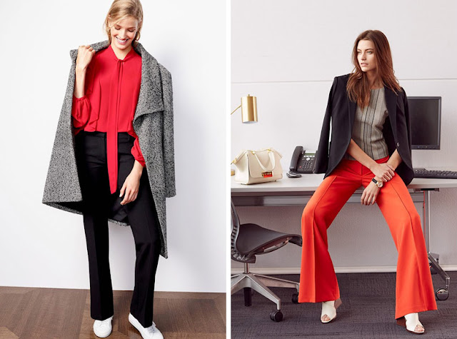 Красная блузка с серыми брюками и пальто