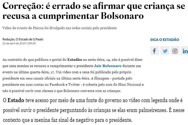 O Estadão confessa fake news contra Bolsonaro