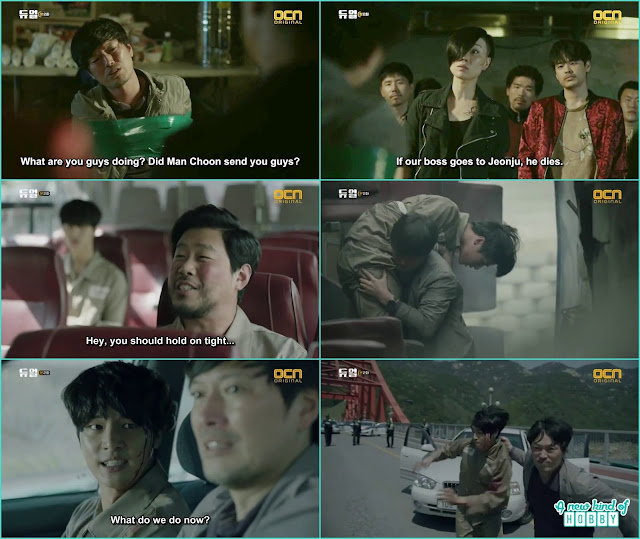 chief jung hel;p sung hoon escaping the police bus and then jump off the bridge - Duel: Episode 1 & 2 korean drama