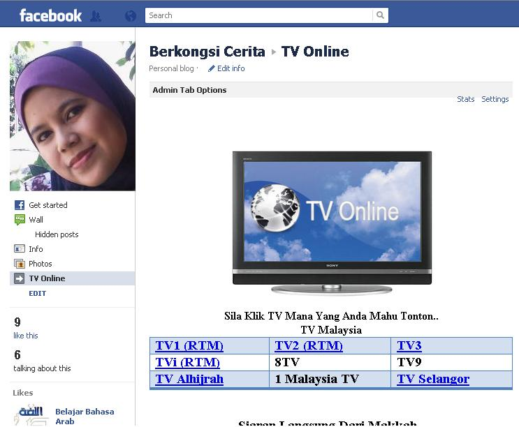TV Online Di Fan Page Facebook