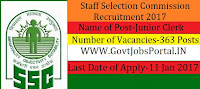 SSC Recruitment for 363 Jr. Clerk and Jr. Assistant Posts 2017
