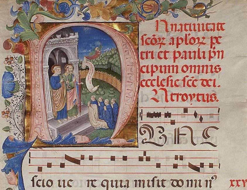 São Pedro e São Paulo recebem as almas dos monges na porta do Céu, Plimpton MS 040A, f1