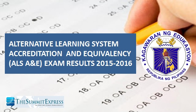 2015-2016 DepEd ALS A&E Exam Results