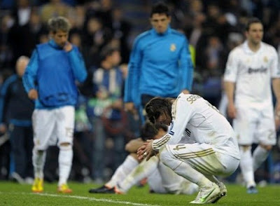 Sergio Ramos sad in the Bernabeu Stadium after missing a penalty