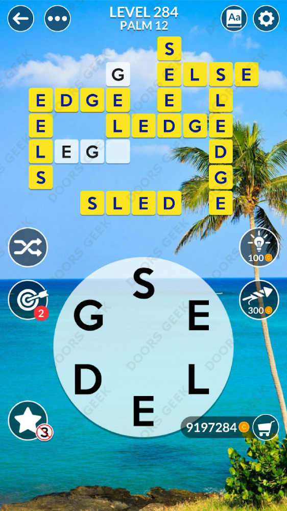 Wordscapes Level 284 answers, cheats, solution for android and ios devices.