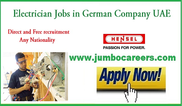 Electrician jobs in Sharjah for Indians, Recent Sharjah jobs with salary and benefits,