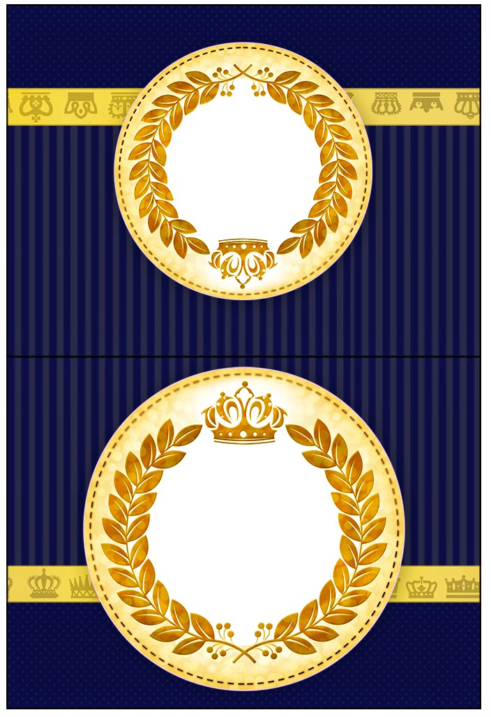 Golden Crown in Blue Free Printable Labels.