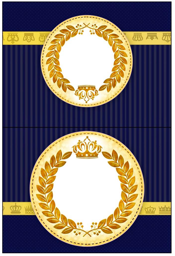 Etiquetas de Corona Dorada en Fondo Azul para imprimir gratis.