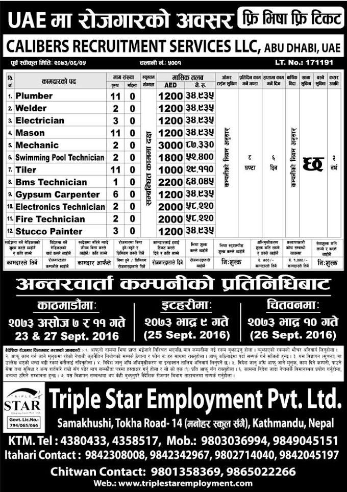 Free Visa, Free Ticket Jobs For Nepali In U.A.E Salary- Rs.87,330/
