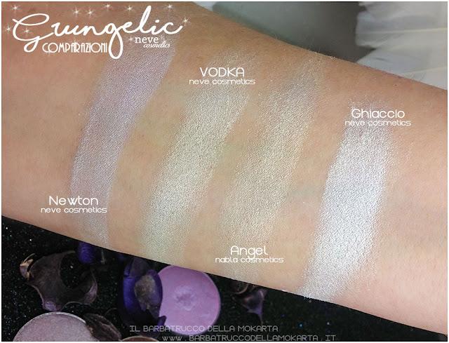 VODKA comparazioni eyeshadow ombretti packaging Neve cosmetics  recensione, pareri, makeup, consigli, comparazioni
